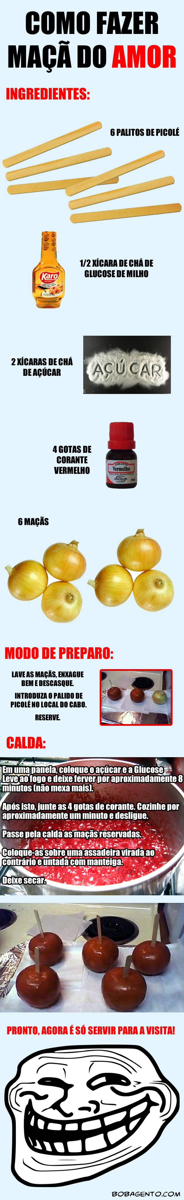 maca do amor Receita de maçã do amor