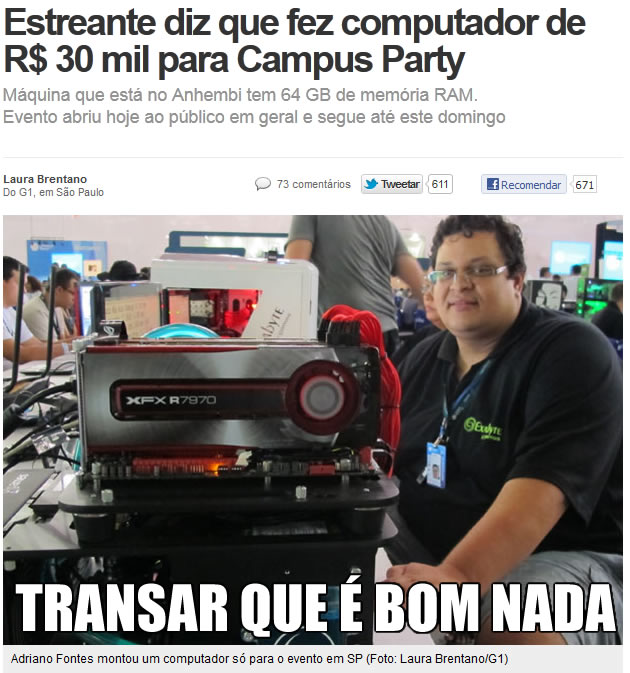 praca mae O PC mais fodão da Campus Party