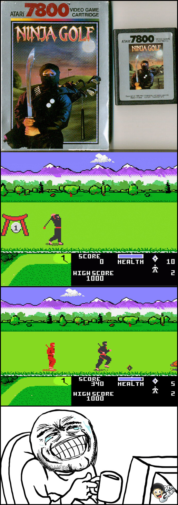 NINJA GOLF Ninja flagrado jogando Golf